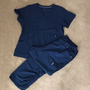 Navy Scrub Top and Pants
